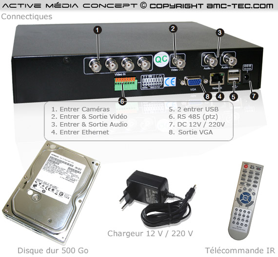 dvr 824b enregistreur de vid o surveillance de 500 go 4 canaux avec acc s sur t l phone et. Black Bedroom Furniture Sets. Home Design Ideas