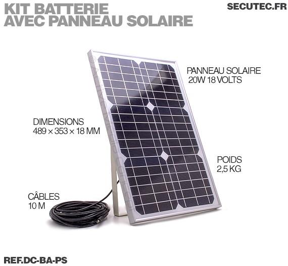 dc ba ps kit batterie 12vdc 9ah avec panneau solaire 20w. Black Bedroom Furniture Sets. Home Design Ideas