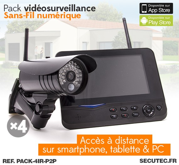 pack 4ir p2p kit vid o surveillance sans fil 4 cam ras. Black Bedroom Furniture Sets. Home Design Ideas