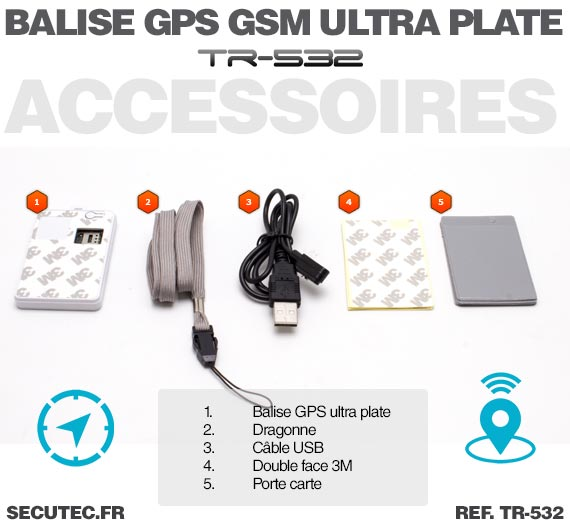 tr 532 balise gps gsm ultra plate type carte de cr dit sans abonnement. Black Bedroom Furniture Sets. Home Design Ideas